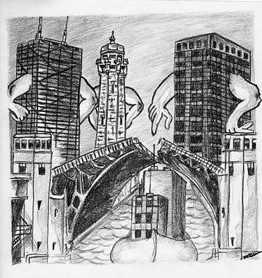 Drawing - Humor Chicago Landmarks by Michelle Gilmore
