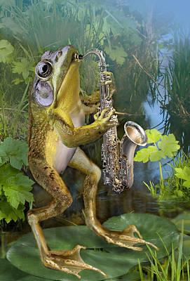 Playing Saxophone Painting - Humorous Frog Plying Saxophone by Regina Femrite