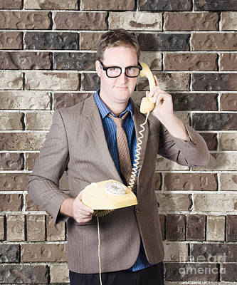 Humorous Male Nerd Chatting Business On Phone Art Print by Jorgo Photography - Wall Art Gallery