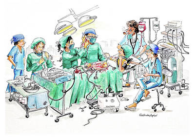 Drawing - Humorous Surgical Comedy by Gertrudes  Asplund