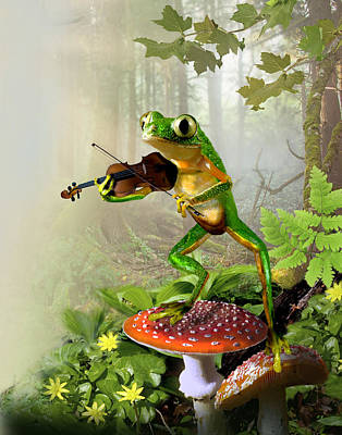 Humorous Tree Frog Playing A Fiddle Art Print by Regina Femrite