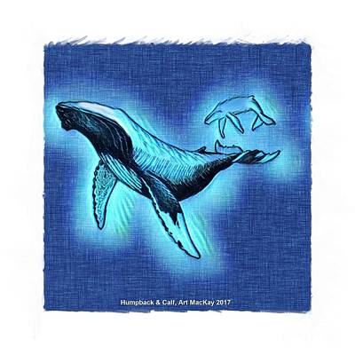 Digital Art - Humpback And Calf by Art MacKay