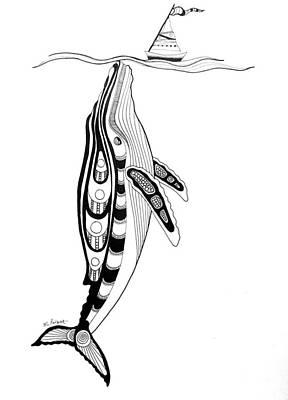 Humpback Whale Drawing - Humpback And Sailboat by Morgan Padgett