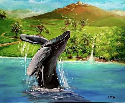 Humpback Whale Breaching At Haleakala Hawaii Art Print by Bernadette Krupa