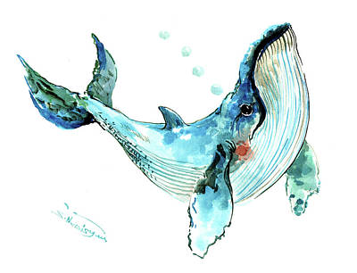 Painting - Humpback Whale Nursery Children Artwork by Suren Nersisyan
