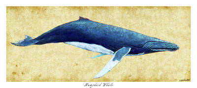 Photograph - Humpback Whale Painting - Framed by Weston Westmoreland