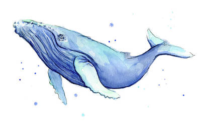 Whimsical Wall Art - Painting - Humpback Whale Watercolor by Olga Shvartsur