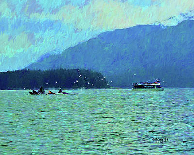 Digital Art - Humpback Whales Bubble Net Fishing Juneau Alaska by Rebecca Korpita
