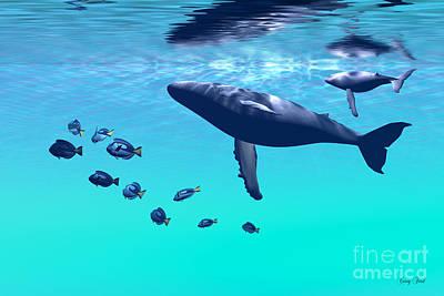 Humpback Whale Digital Art - Humpback Whales by Corey Ford