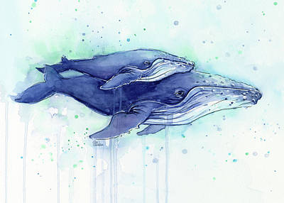Mother And Baby Painting - Humpback Whales Mom And Baby Watercolor Painting - Facing Right by Olga Shvartsur