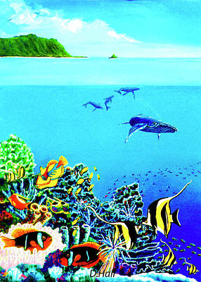 Humpback Whales, Reef Fish #252 Art Print by Donald k Hall