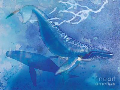Humpback Whale Painting - Humpback Whales by Tracy Herrmann