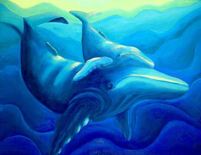 Humpback With Calf Art Print by Lynn Soehner