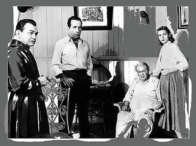 Edward G. Robinson Wall Art - Photograph - Humphrey Bogart Edward G. Robinson, Lionel Barrymore, Lauen Bacall Key Largo 1948-2016 by David Lee Guss