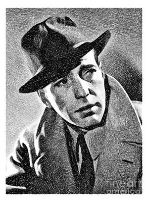 Humphrey Bogart Drawing - Humphrey Bogart, Vintage Actor By Js by John Springfield