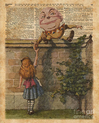 Tapestries - Textiles Mixed Media - Humpty Dumpty Alice In Wonderland Vintage Dictionary Art by Jacob Kuch