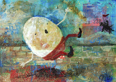 Nursery Rhyme Mixed Media - Humpty Dumpty by Jennifer Kelly