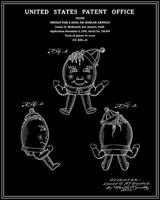 Humpty Dumpty Patent - Black Print by Finlay McNevin