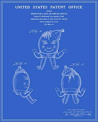Humpty Dumpty Patent - Blueprint Print by Finlay McNevin