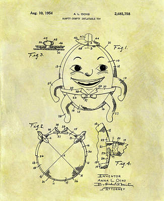 Drawing - Humpty Dumpty Patent by Dan Sproul