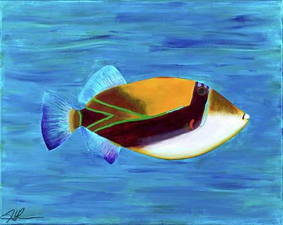 Triggerfish Painting - Humuhumunukunukuapua A' by Heidi Miller-Rice