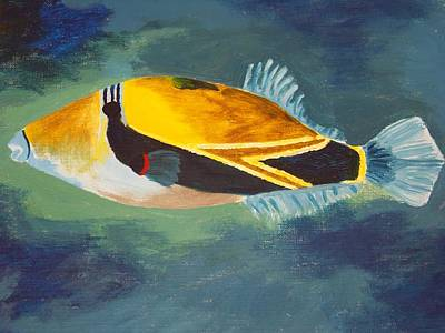 Triggerfish Painting - Humuhumunukunukuapua'a by Sara Ricer