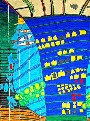 Painting - Hundertwasser Blue Moon Atlantis Escape To Outer Space by Jesse Jackson Brown