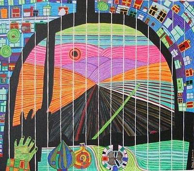 Painting - Hundertwasser The Road Back From You To Me She Carries All Knowledge Within Herself In 3d By J.j.b by Jesse Jackson Brown