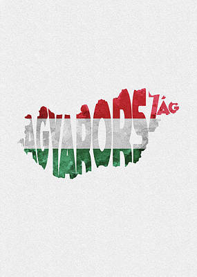 Tourism Digital Art - Hungary Typographic Map Flag by Inspirowl Design