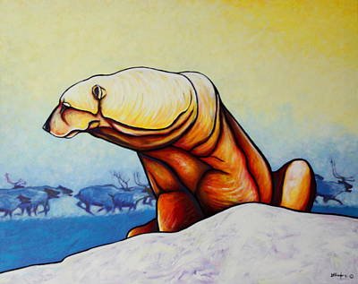 Snow-covered Landscape Painting - Hunger Burns - Polar Bear And Caribou by Joe  Triano