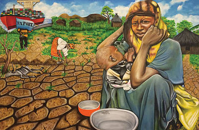 Painting - Hunger In The Land Of Plenty by O Yemi Tubi