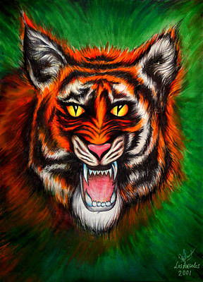 Portrait Of Evil Painting - Hungry Angry Tiger by Sofia Metal Queen