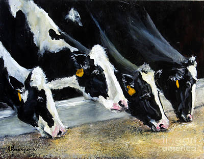 Hungry Holsteins Art Print