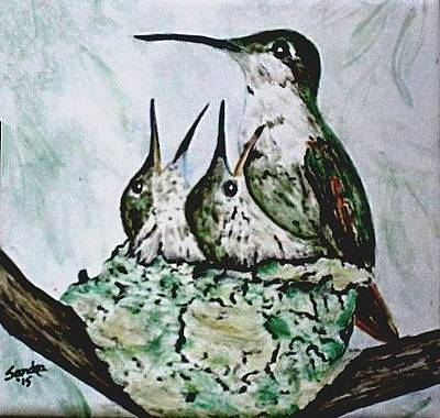 Bath Time Rights Managed Images - Hungry Hummingbird Family Royalty-Free Image by Sandra Maddox