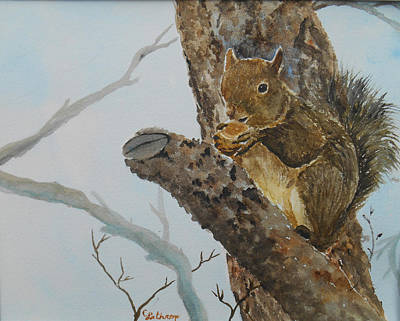Painting - Hungry Squirrel by Christine Lathrop