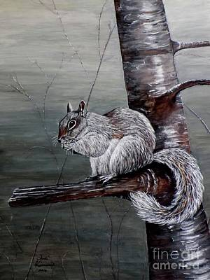 Squirrel Painting - Hungry Squirrel by Judy Kirouac