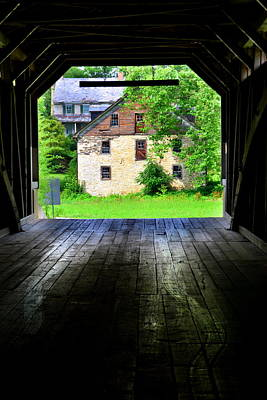 Photograph - Hunsecker's Mill Covered Bridge Vertical by Lisa Wooten