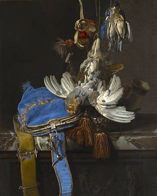 Willem Van Aelst Painting - Hunt Still Life With A Velvet Bag On A Marble Ledge by Willem van Aelst