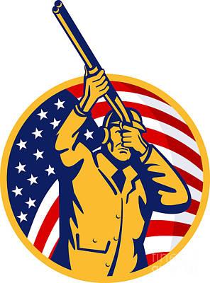 Hunter American Flag Art Print by Aloysius Patrimonio