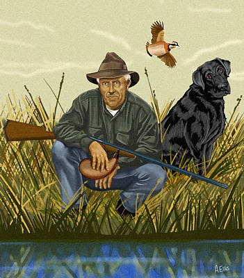 Retriever Digital Art - Hunter And Friend by Andrew Ellis