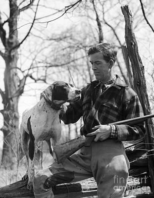 Hunter And Pointer Dog, C.1930s Art Print