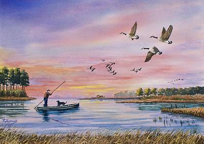 Marsh Scene Painting - Hunter Heads Home by Raymond Edmonds