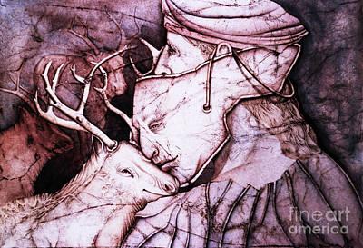 Wall Art - Drawing - Hunter, Mask And A Kiss by Carole Lindberg