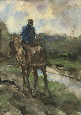 Hunter On Horseback On The Towpath Art Print by Jacob Maris