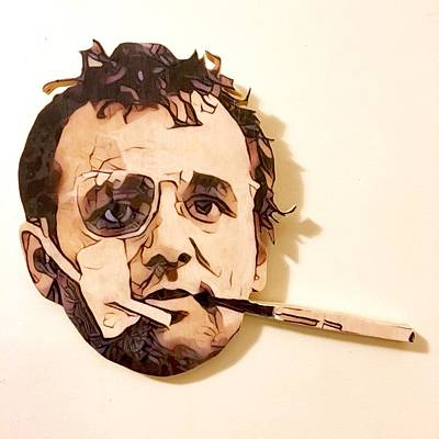 Stencil Art Painting - Hunter S Murray Head Piece by Bobby Zeik