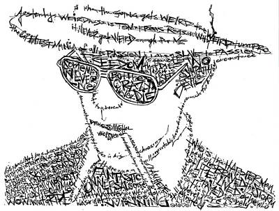 Hunters Drawing - Hunter S. Thompson Black And White Word Portrait by Kato Smock