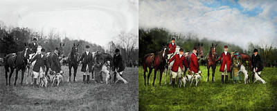 Photograph - Hunter - The Fox Hunt - Tally-ho 1924 - Side By Side by Mike Savad