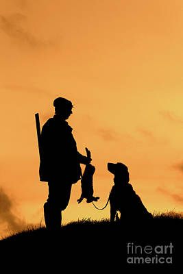 Photograph - Hunter With Dog At Sunset by Arterra Picture Library