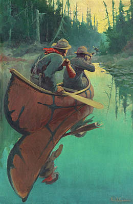 Philip Goodwin Painting - Hunters In A Canoe by Philip R Goodwin
