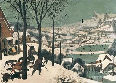 Skating Painting - Hunters In The Snow by Pieter the Elder Bruegel